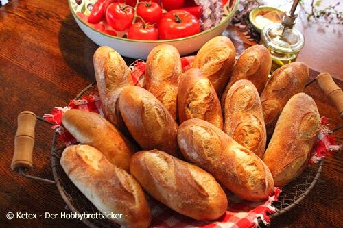 Baguettebrötchen mit Banette- und Buratto-Mehl